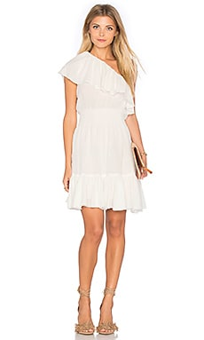 Rebecca Taylor One Shoulder Gauze Dress in Sea Salt