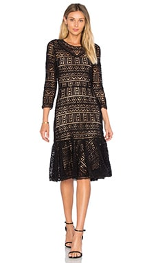 Long Sleeve Lace Dress en Noir