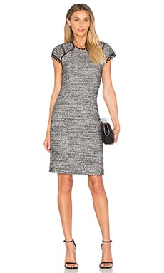 Short Sleeve Stretch Tweed Shift Dress in Black & Cream