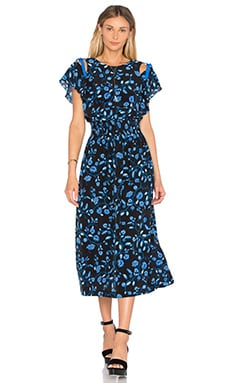Rebecca Taylor Open Shoulder Kyoto Midi Dress in Black