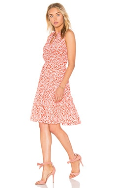 Rebecca Taylor Sleeveless Provence Block Dress in Red Combo