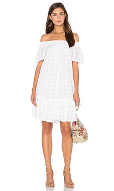 Off Shoulder Embroidered Gauze Dress in Sea Salt