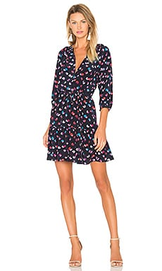 Rebecca Taylor Long Sleeve Sakura Flower Dress in Navy
