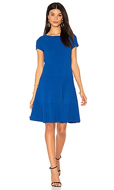 Short Sleeve Diamond Texture Dress em Azul Real
