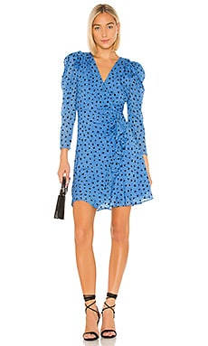 Faux Wrap Long Sleeve Dot Wrap Dress Rebecca Taylor $550
