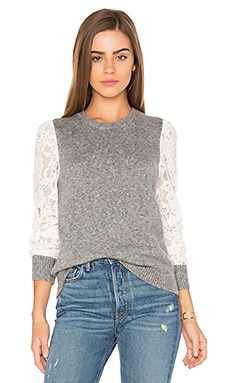 Lace Sleeve Pullover in Silver & Chalk