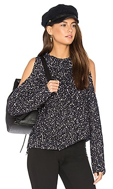 Open Shoulder Boucle Pullover