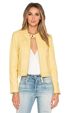 Rebecca Taylor Patched Leather Jacket in Lemon
