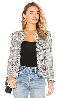 Boucle Tweed Jacket in Black & Chalk