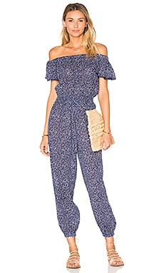 Woodblock Gauze Jumpsuit in Ink Blue