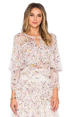 Rebecca Taylor Long Sleeve Tapestry Garden Top in Creamsicle