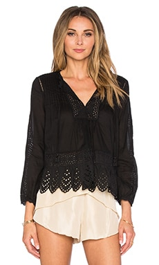 Rebecca Taylor Long Sleeve Voile Lace Top in Black