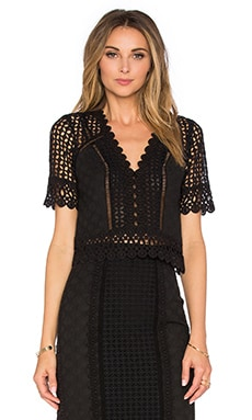 Rebecca Taylor Short Sleeve Lace Crochet Top in Black