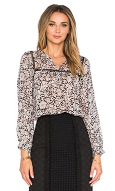 Long Sleeve Lindsay Floral Top in Black & Cameo Pink