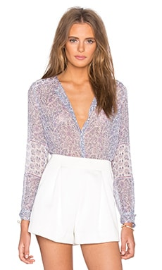 Rebecca Taylor Long Sleeve Amanda Print Top in Snow & Lilac