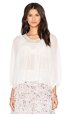 Rebecca Taylor Long Sleeve Lace Top in Creamsicle