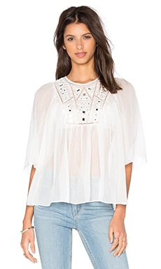 Rebecca Taylor Short Sleeve Mirror Eyelet Top in Snow