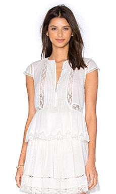 Rebecca Taylor Short Sleeve Cotton Gauze Top in Snow