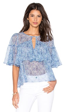 Rebecca Taylor Short Sleeve Shibori Ruffle Top in Violet Teal
