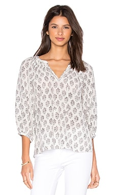 Rebecca Taylor Long Sleeve Valentina Top in Black & White