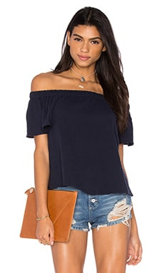Rebecca Taylor Off The Shoulder Gauze Top in Navy