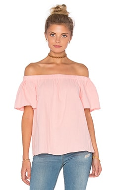 Off The Shoulder Gauze Top in Coral