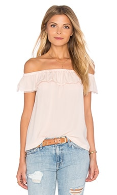 Rebecca Taylor Off Shoulder Georgette Top in Light Quartz