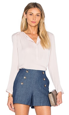 Rebecca Taylor Long Sleeve Double Georgette Top in Sheer Pink