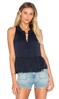 Sleeveless Double Georgette Peplum Top en Marine