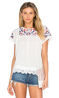 Short Sleeve Garden Embroidered Top in Snow