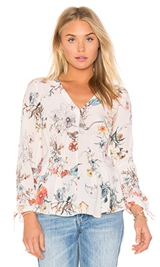 Long Sleeve Meadow Floral Top en Rayé Rose