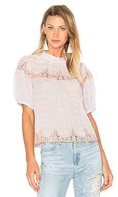 Short Sleeve Clip Mix Top in Violet Haze