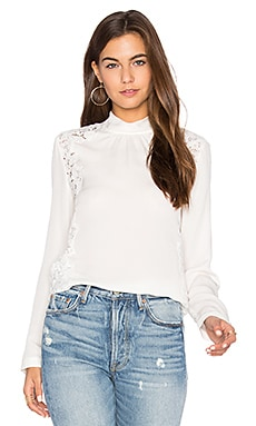 Long Sleeve Georgette & Lace Top em Giz