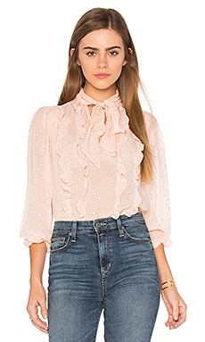 Long Sleeve Metallic Dot Blouse in Ballet