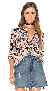 Long Sleeve Lavinia Rose Top in Black & Camellia