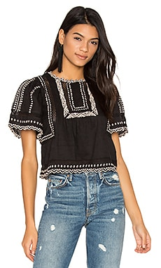 Short Sleeve Esme Embroidered Top in Black Combo
