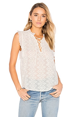 Sleeveless Florence Embroidered Top in Chalk
