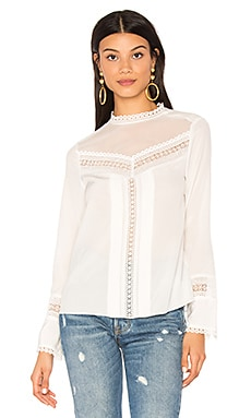 Long Sleeve Lace Silk Top in Chalk