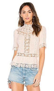 Eyelet Mock Neck Top
