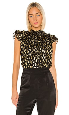 Sleeveless Leopard Metallic Top Rebecca Taylor $275