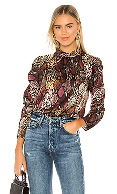 Long Sleeve Snake Mock Top Rebecca Taylor $325 NEW ARRIVAL