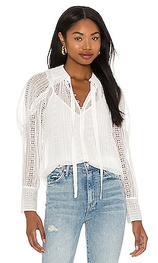 Long Sleeve Geo Embroidery Blouse Rebecca Taylor $345