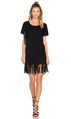 RtA Fringe Dress in Black Suede