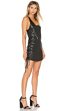 RtA Fifi Lace Up Leather Dress in Raven