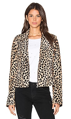 RtA Nico Moto Calf Hair Jacket in Cheetah