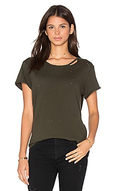 Jewel Distressed Tee in Army Green