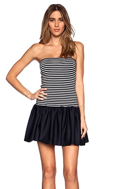 Red Valentino Striped Jersey Dress in Navy & White