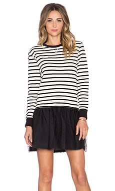 Red Valentino Striped Sweater Dress in Black & White