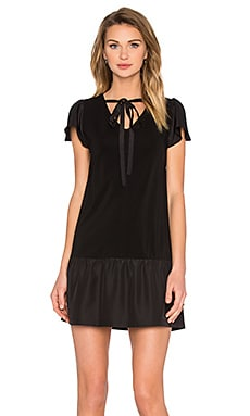 Red Valentino Mini Tie Neck Dress in Black