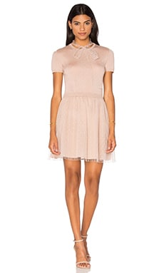 Short Sleeve Tulle Sweater Dress in Nudo